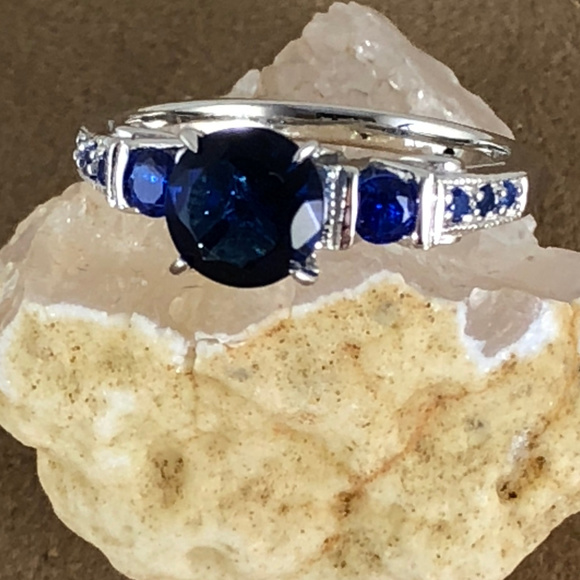 Gem Empourium Jewelry - 2CT Blue Sapphire 925 Sterling Silver Ring Size 7